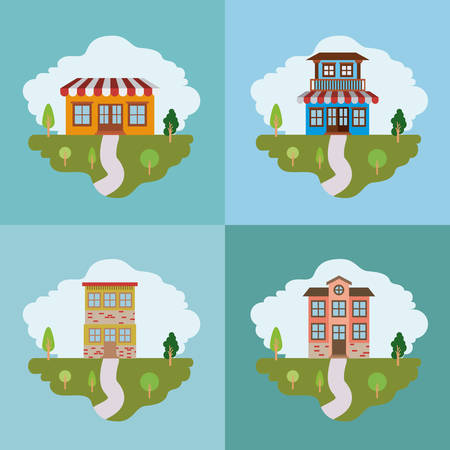 rural road: Colorful landscape with set of country houses scenes vector illustration