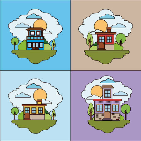 rural road: Colorful landscape with set of country houses scenes in sunny day vector illustration Illustration