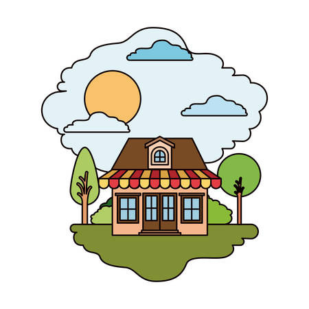 Colorful scene of country house with attic and sunshade in sunny day vector illustration
