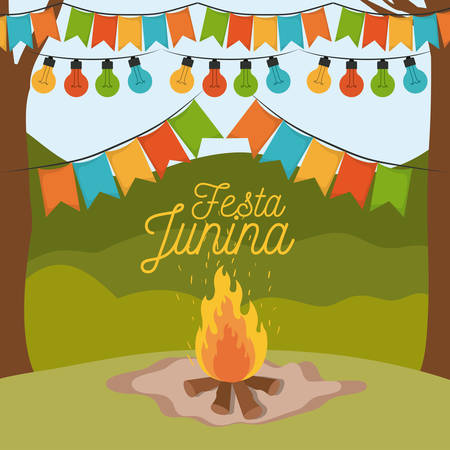 colorful poster festa junina with background outdoors and wood fire and decorative festoon and holding lights vector illustration