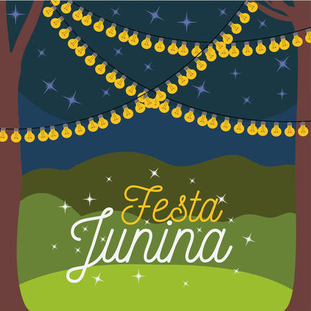 colorful poster festa junina with nightly background outdoors and decorative lights vector illustration