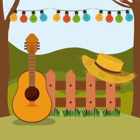 A colorful background of fiesta junina with rural landscape and wooden railing with guitar and hat vector illustration Illustration