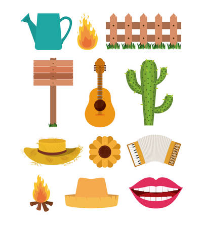 White background with set of elements of fiesta junina vector illustration.