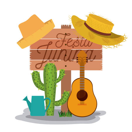 White background poster with wooden fence of festa junina with of cactus guitar and hat and watering can vector illustration.