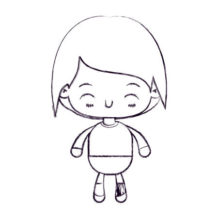 A blurred thin silhouette of kawaii little boy with happiness facial expression vector illustration.