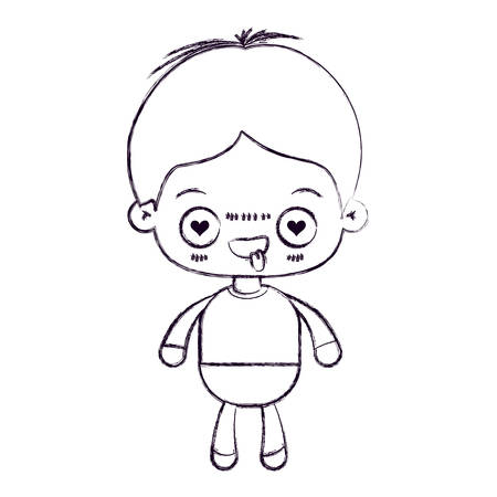 blurred thin silhouette of kawaii little boy with facial expression in love vector illustration Illustration