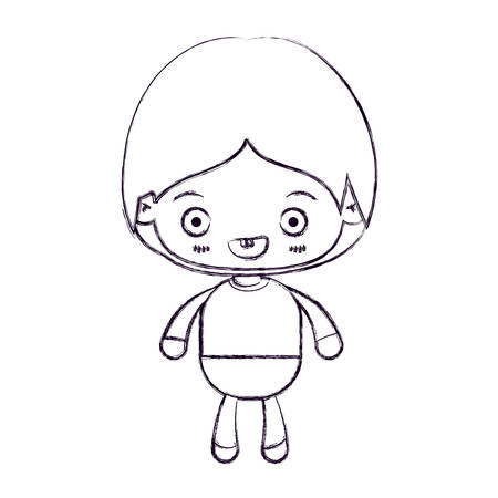 Blurred thin silhouette of kawaii little boy smiling vector illustration.