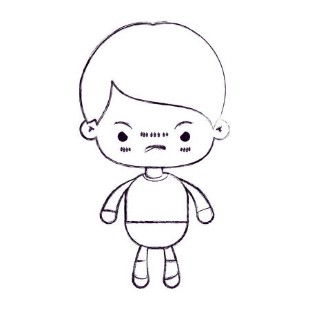 blurred thin silhouette of kawaii little boy with facial expression angry vector illustration Illustration