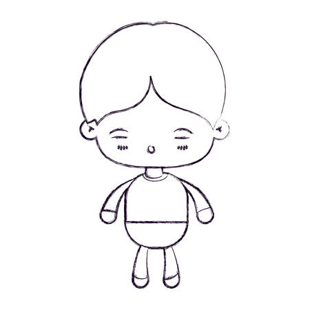 blurred thin silhouette of kawaii little boy with facial expression of tired vector illustration