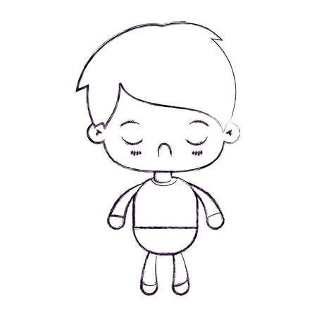 blurred thin silhouette of   little boy with facial expression disgust with closed eyes vector illustration