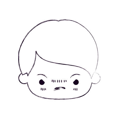 unpleasant: blurred thin silhouette of   head of little boy with facial expression angry vector illustration
