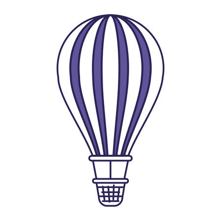 purple line contour of hot air balloon vector illustration