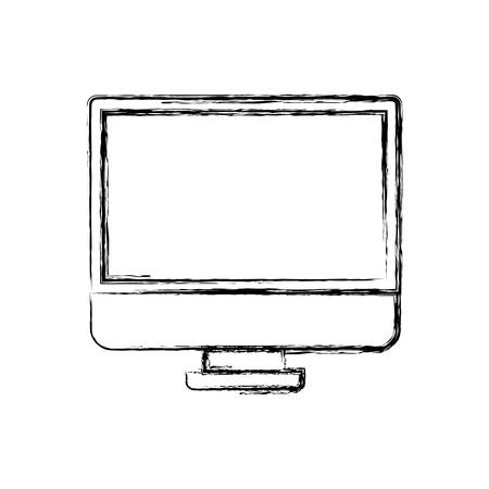 led display: monochrome blurred silhouette of lcd monitor vector illustration