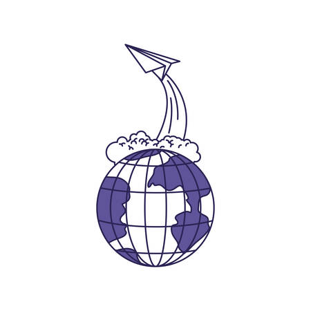 purple line contour of earth globe and paper plane flying vector illustration