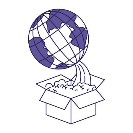 map case: purple line contour of earth globe coming out of the box vector illustration