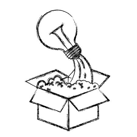 lighted: monochrome blurred silhouette of cardboard box and light bulb vector illustration Illustration