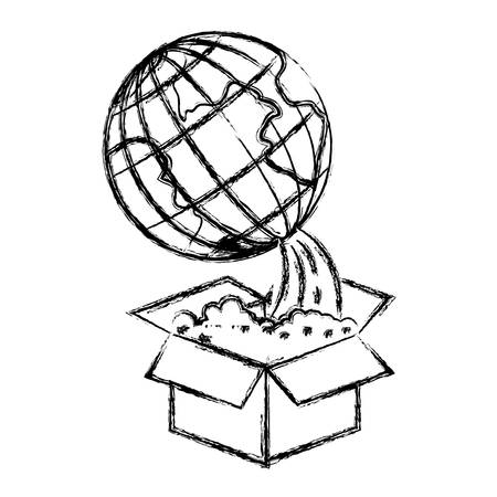 map case: monochrome blurred silhouette of earth globe coming out of the box vector illustration