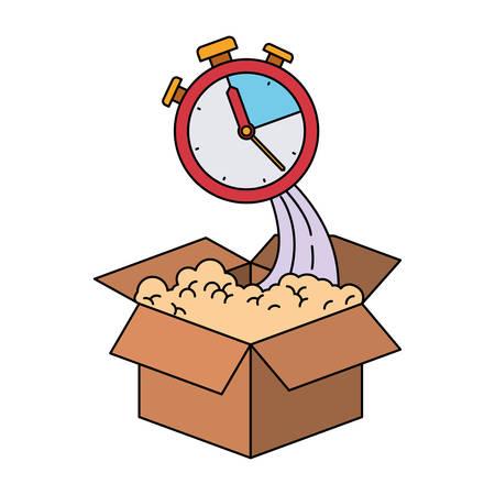 cronometro: silueta colorida de caja de cartón y cronómetro ilustración vectorial