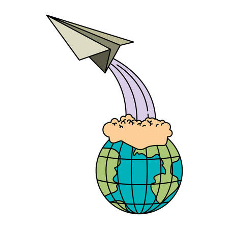 colorful silhouette of earth globe and paper plane flying vector illustration Illustration