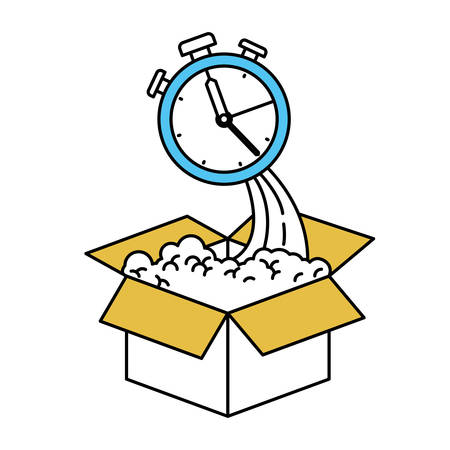 color sectors silhouette of cardboard box and stopwatch vector illustration Ilustração