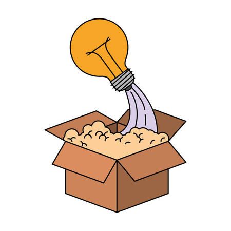 colorful silhouette of cardboard box and light bulb vector illustration Illustration