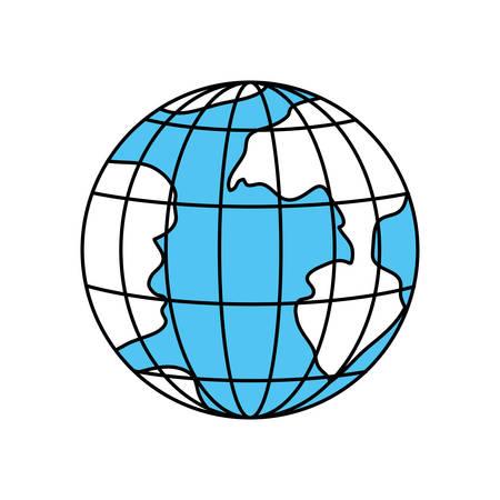 Farbsektorenschattenbild der Erdkugel mit Meridianen und Parallelen vector Illustration