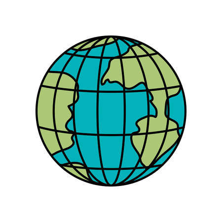 parallels: colorful silhouette of earth globe with meridians and parallels vector illustration