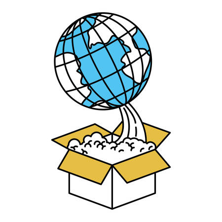 colorful silhouette of earth globe coming out of the box vector illustration Illustration