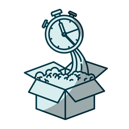 blue shading silhouette of cardboard box and stopwatch vector illustration