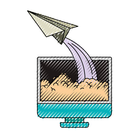 colored crayon silhouette of lcd monitor and paper plane vector illustration