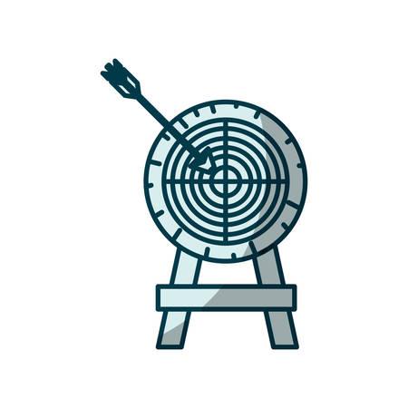 blue shading silhouette of arrow on target vector illustration Illustration