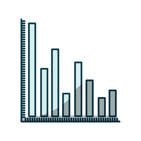 colum: blue shading silhouette of column chart vector illustration