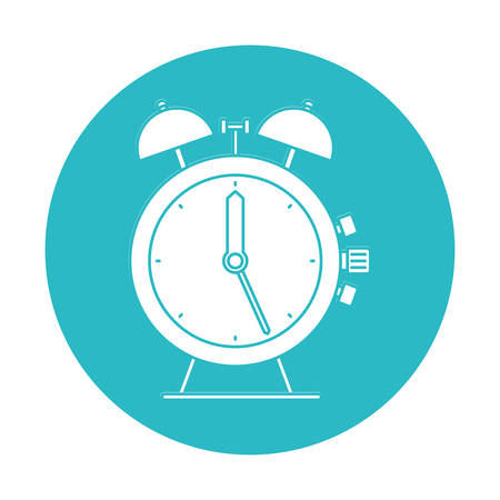circle light blue with antique alarm clock vector illustration
