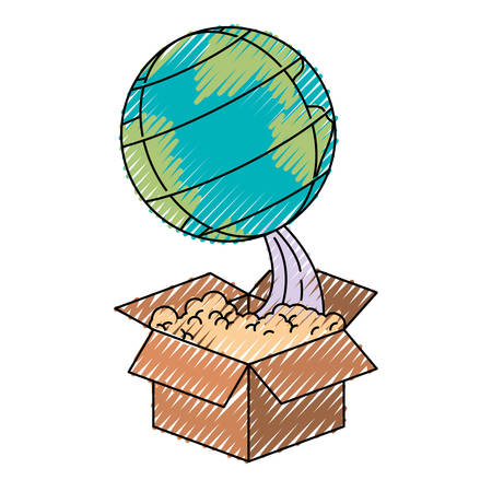 colored crayon silhouette of earth globe coming out of the box vector illustration
