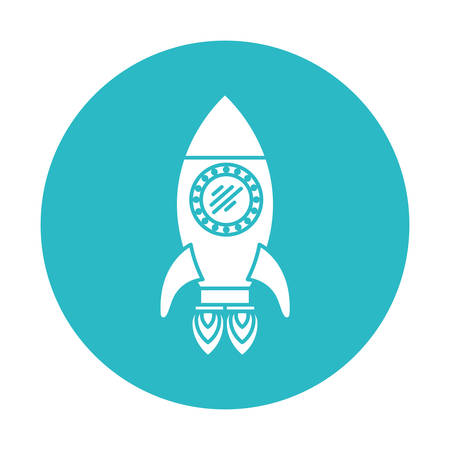 circle light blue with space rocket with two turbines vector illustration Illustration