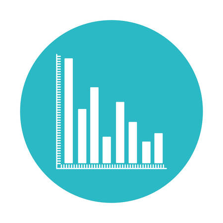 colum: circle light blue with column chart icon vector illustration