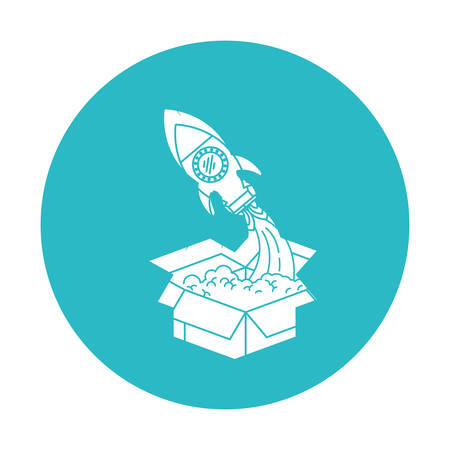 out of shape: circle light blue with space rocket coming out of the box vector illustration