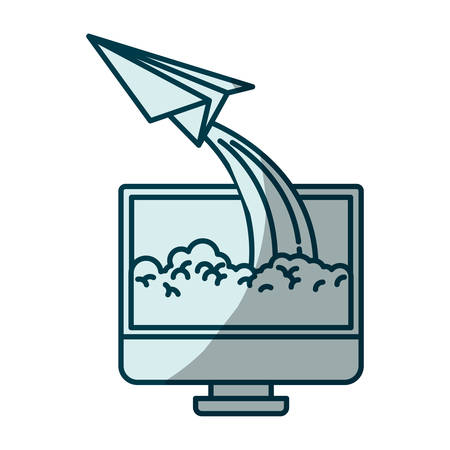 lcd tv: blue shading silhouette of lcd monitor and paper plane vector illustration Illustration