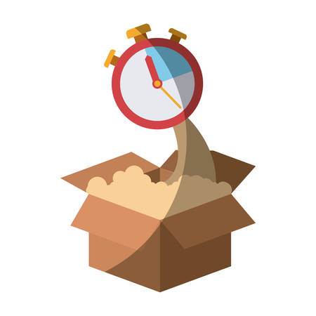 colorful silhouette of cardboard box and stopwatch without contour and shading vector illustration