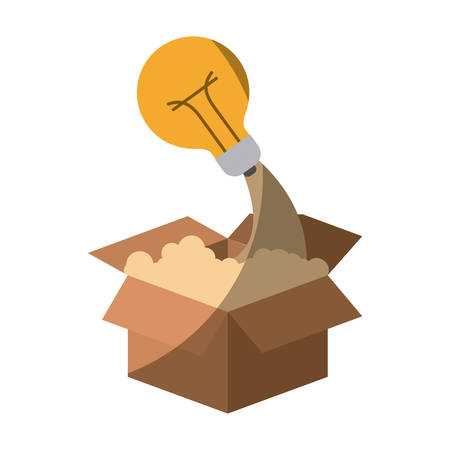 colorful silhouette of cardboard box and light bulb without contour and shading vector illustration Illustration