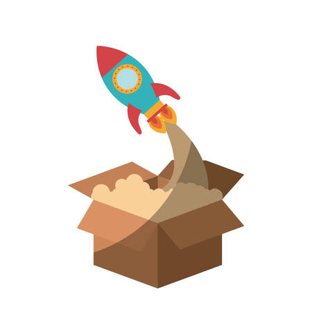 spacial: colorful silhouette of space rocket coming out of the box without contour and shading vector illustration Illustration