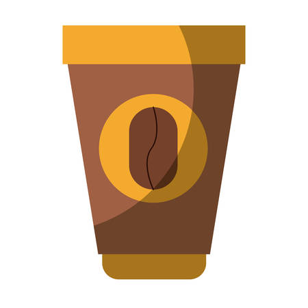 colorful silhouette of disposable cup with hot coffee without contour and shading vector illustration