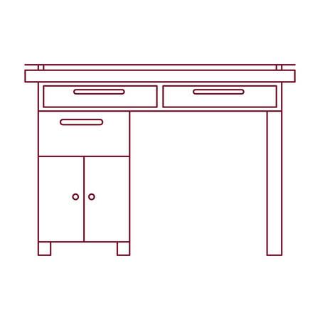confortable: dark red line contour of wooden home desk vector illustration