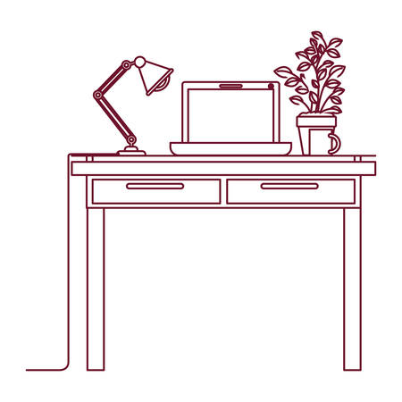 confortable: dark red line contour of work place office interior with laptop computer and lamp and plantpot vector illustration Illustration