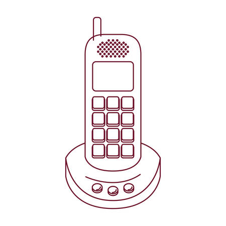 cordless phone: dark red line contour of cordless phone vector illustration