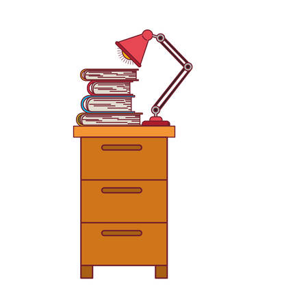 colorful graphic of filing cabinet with lamp and books with dark red line contour vector illustration
