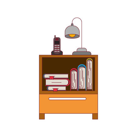 colorful graphic of nightstand with cordless phone and lamp and books stacking with thick dark red line contour vector illustration