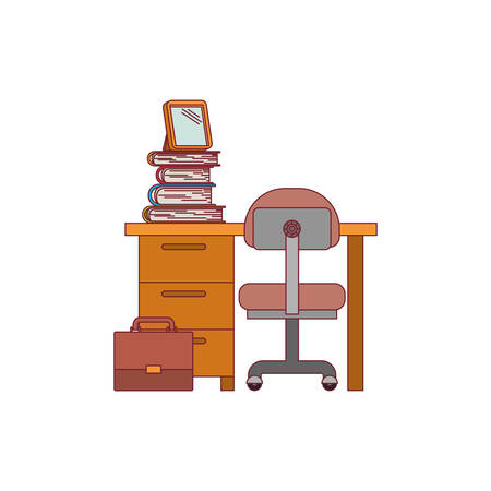 colorful graphic of desk home with chair and books with dark red line contour vector illustration