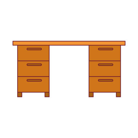 confortable: colorful graphic of wooden office desk with dark red line contour vector illustration