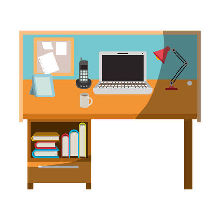 Colorful graphic of workplace home office interior without contour and half shadow vector illustration.